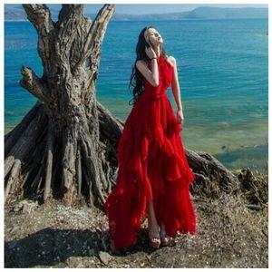 👠Long Red ruffle dress